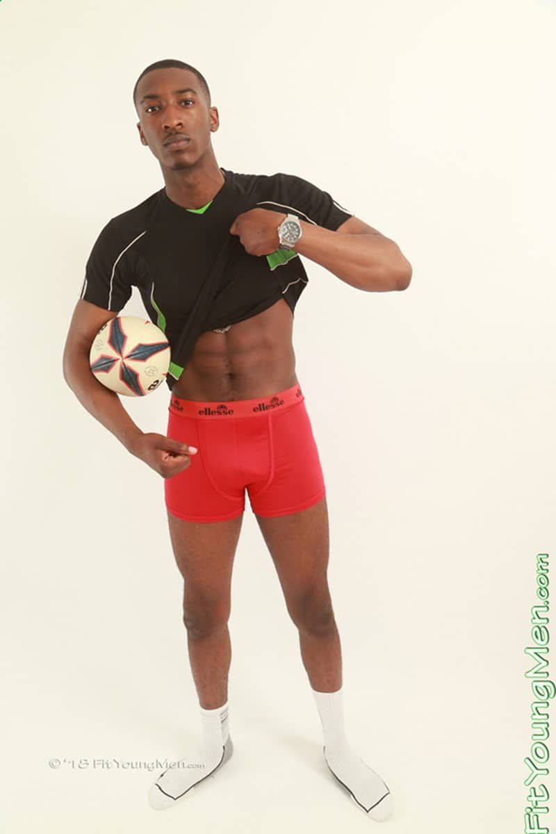 Hot nude black sports dude Steve Hanson strips out of his